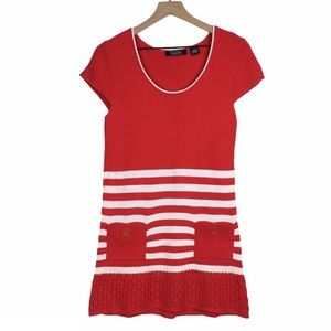 Sweater Dress Stripes Buttons Elf Costume Small